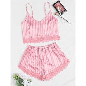 Pink Striped Print Cami + Shorts 2 Piece Pajamas